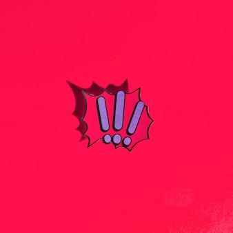 感嘆符は、赤い背景に漫画の本のバブルテキストのレトロスタイルをマーク