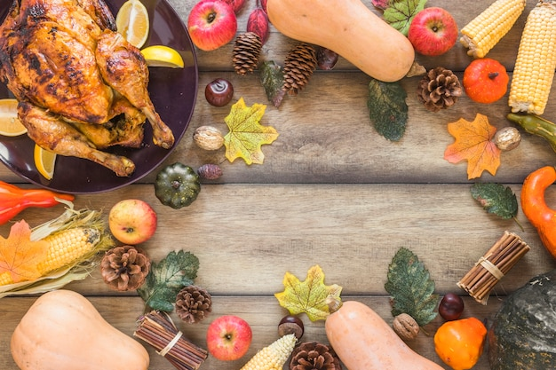 野菜、葉、鶏肉の組成