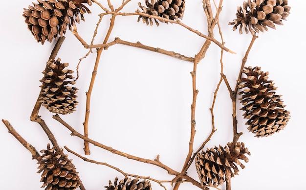 フレームの形をしたスガグと小枝