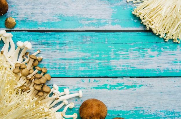 風化した木製の背景にキノコの様々なタイプ