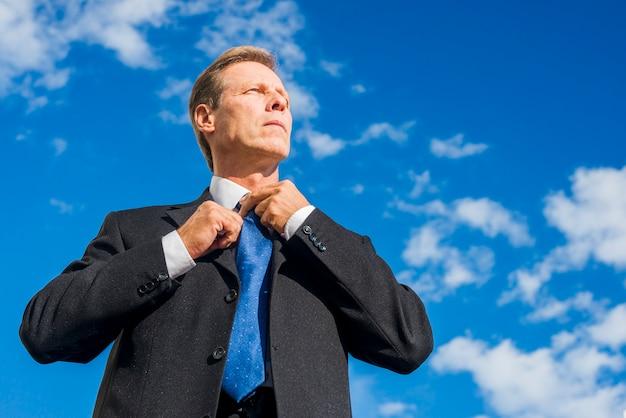 Взгляд низкого угла зрелого бизнесмена в черном костюме против неба
