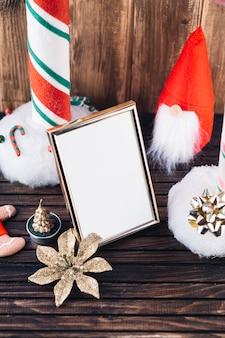 小さい、クリスマス、エルフ、テーブル、ブランク、フレーム