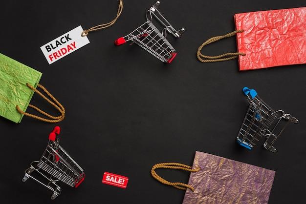 Тележки для покупок, пакеты и теги