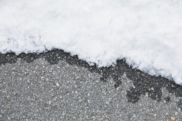 雪の近くの湿ったアスファルト