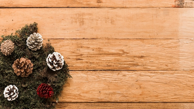 Маленькие конусы на деревянном столе
