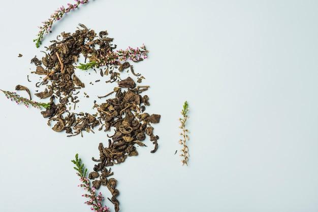 白い背景の上の乾燥ラベンダーの花びら