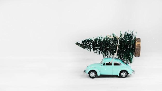 上にモミの木の車のおもちゃ