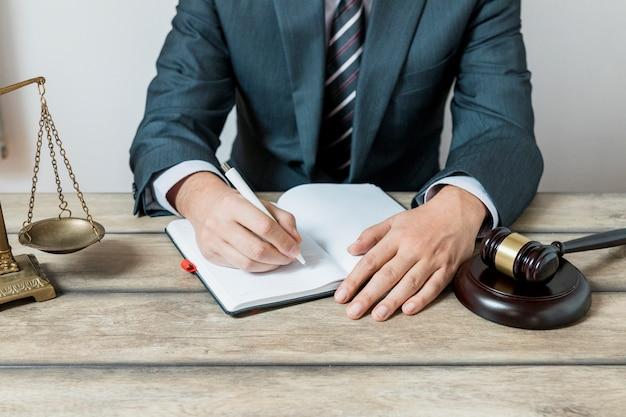 弁護士が予定を書いている