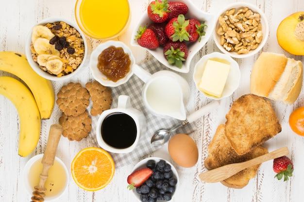 トップビューおいしい朝食