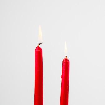 赤い蝋燭を燃やす