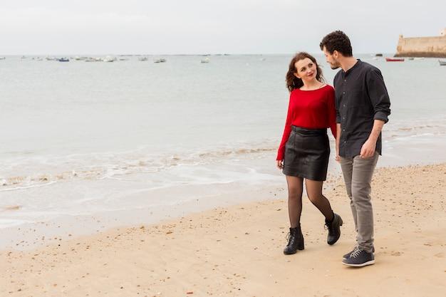 歩く、海岸で話す若いカップル