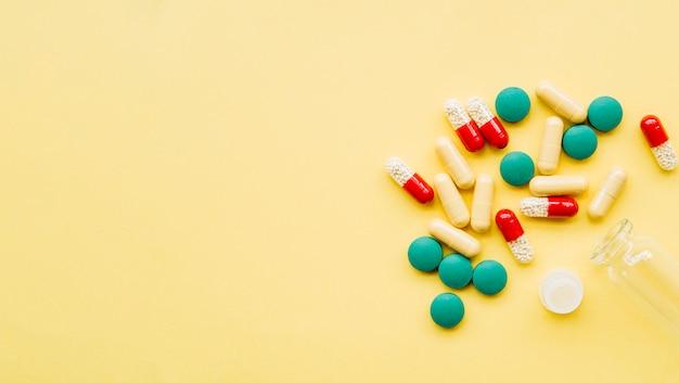 錠剤のトップビューグループ
