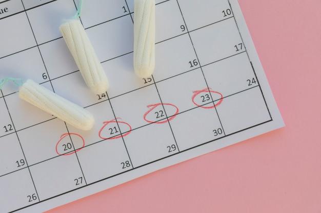 カレンダーのタンポン