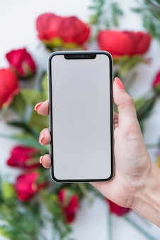 赤いバラの上の空白の画面を持つスマートフォンを保持している女性