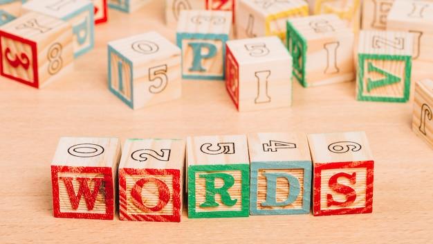 言葉のタイトルを持つ木製の明るいキューブ