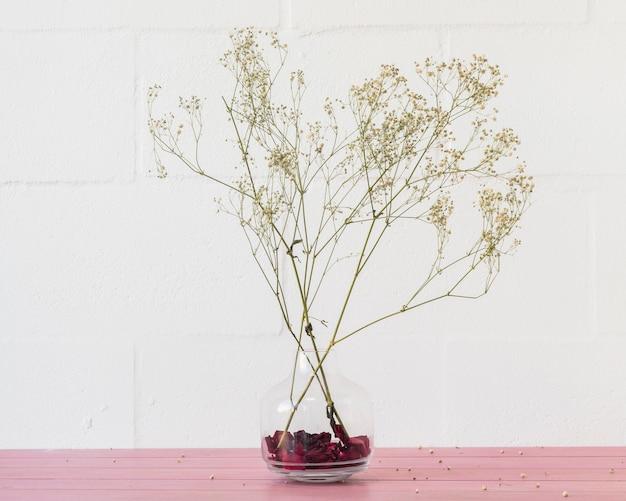 壁の近くの花瓶に緑の植物の枝