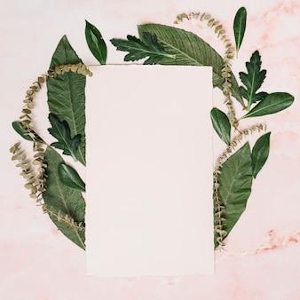 葉とテーブルの上の枝を持つ紙のシート