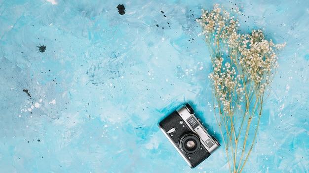 テーブルの上のカメラと花の枝