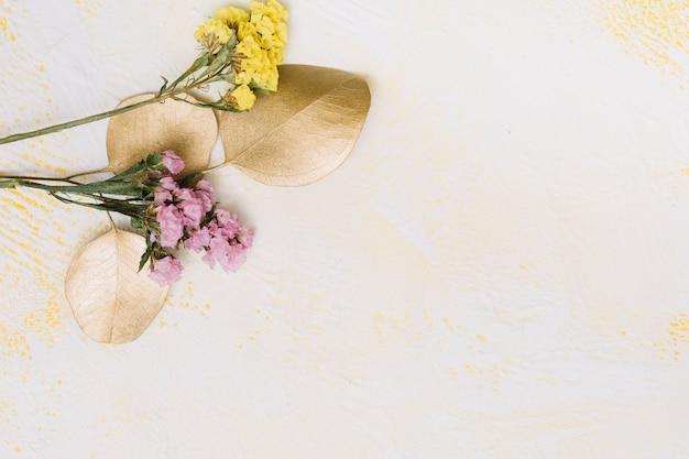 白いテーブルの上の小さな花枝