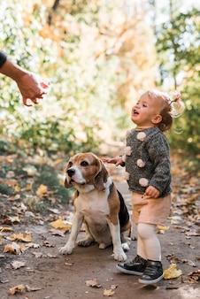 ビーグル犬の餌をやる人の手を見て微笑んでいる女の子