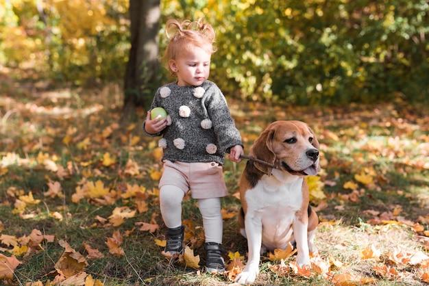 公園で犬のひもを保持している小さな女の子