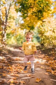 秋の間に森林歩道に立っている小さな女の子の肖像画