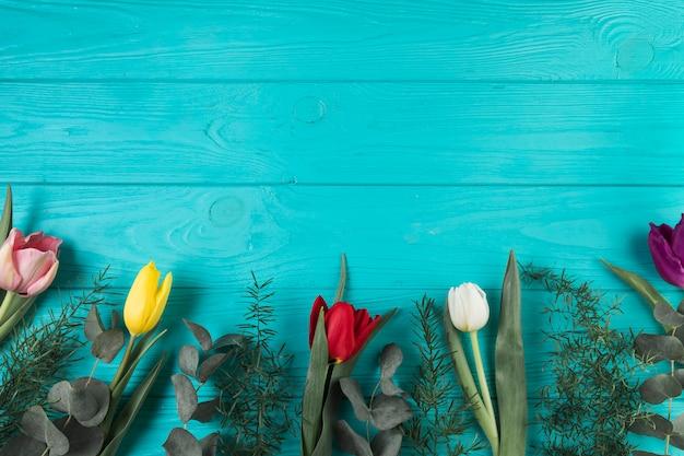 色とりどりのチューリップとターコイズブルーの木製の背景に緑の葉
