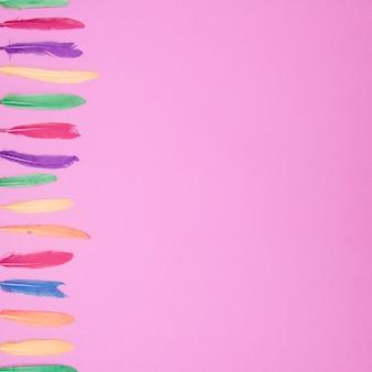 ピンクを背景にカラフルな柔らかい羽の横列