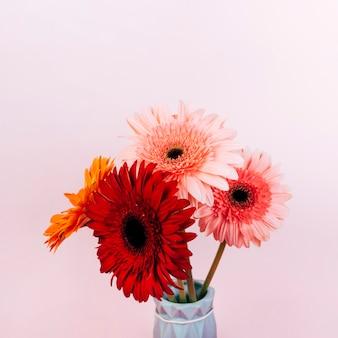 ピンクの背景にカラフルなガーベラの花瓶