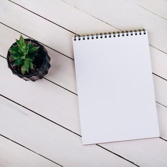 白い木の空白スパイラルメモ帳の近くの観葉植物