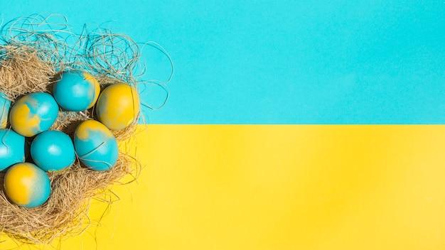 明るいテーブルの上の大きな巣のイースターエッグ
