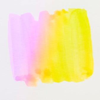 白い背景上に分離されて別の紫と黄色のブラシストローク水彩画