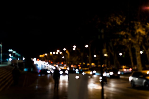 街の光がぼやけて背景のボケ味