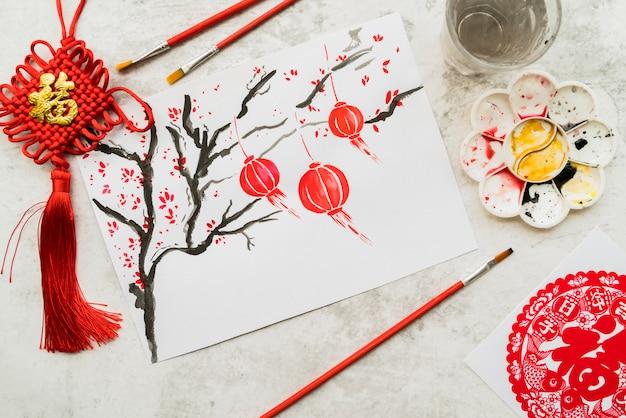 紙と中国の新年のコンセプト