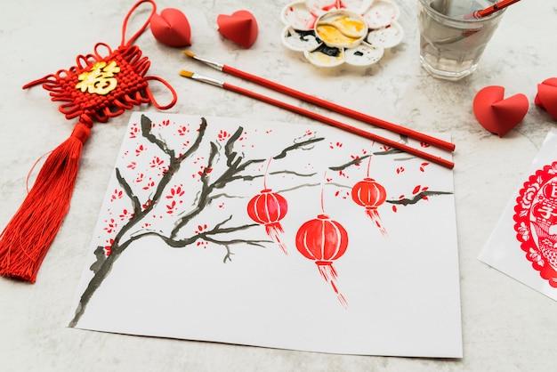 Китайский новый год концепция с бумагой