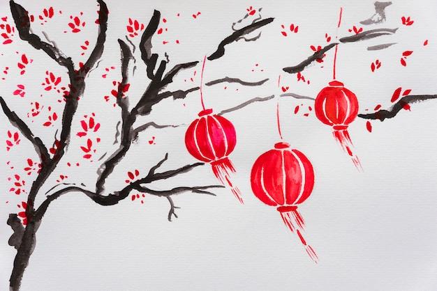 中国の新年の描画