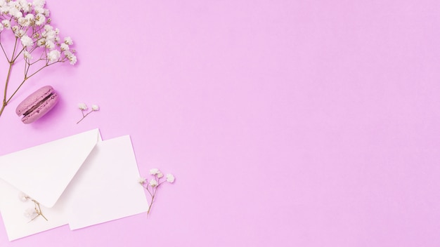 紙と花の枝と封筒
