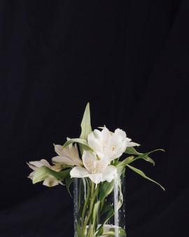 花瓶に美しい新鮮な白い花の束