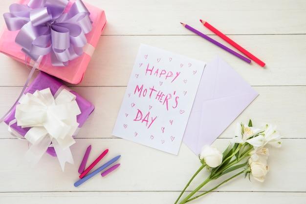 幸せな母の日のお祝い構成