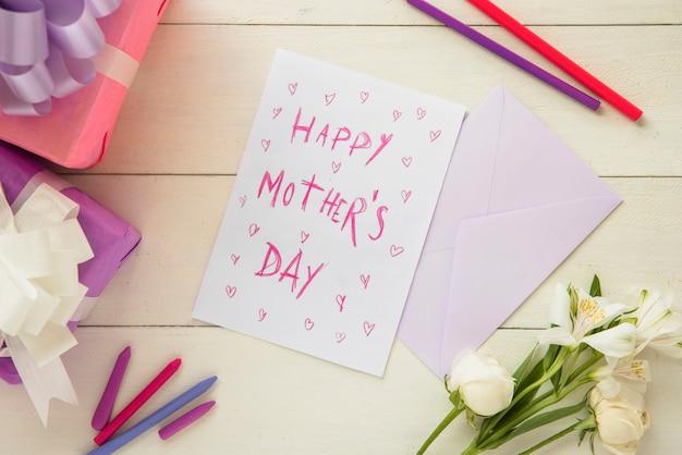 幸せな母の日のパステルポストカード