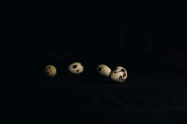 黒さの間にウズラの卵