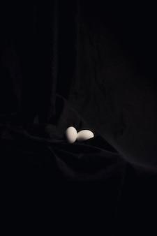 暗い材料の間の鶏の卵