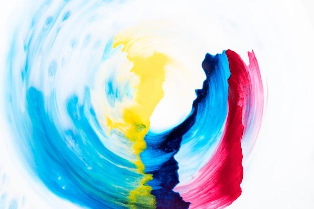 白い紙の上の円形の装飾的な水彩ブラシストローク