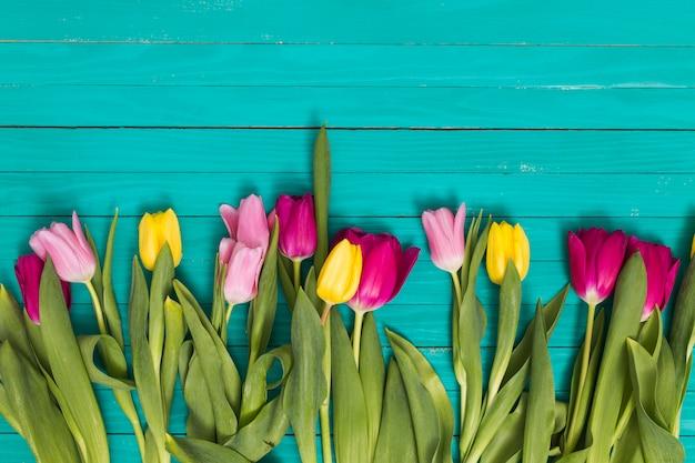 緑の木製の背景の下に配置された色とりどりのチューリップの花