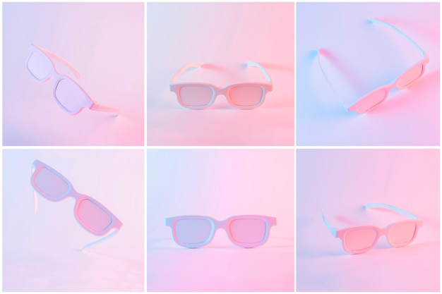 色付きの背景に対してピンクの塗られた眼鏡のセット