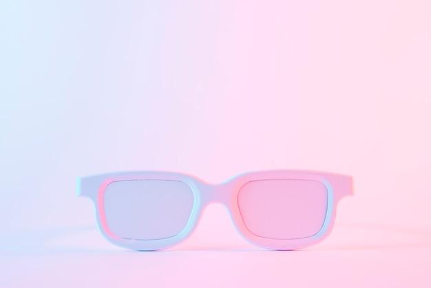 ピンクの背景に対して白塗られた眼鏡