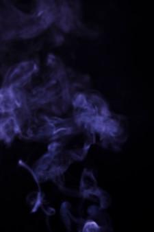 黒の背景上の紫色のソフトフォーカスの煙
