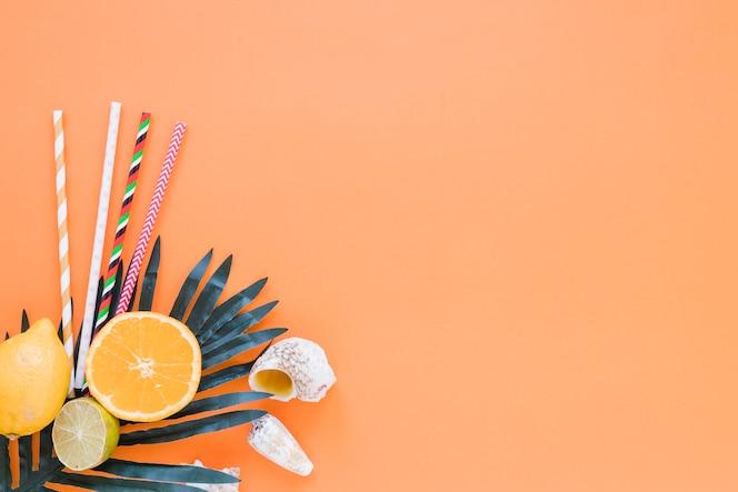 ストロー、ヤシの葉と殻を持つ柑橘系の果物