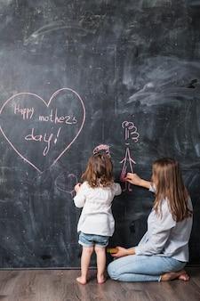 Мать и дочь рисуют возле надписи «счастливый день матери»