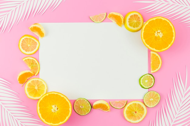 白紙の紙、柑橘系の果物とヤシの葉